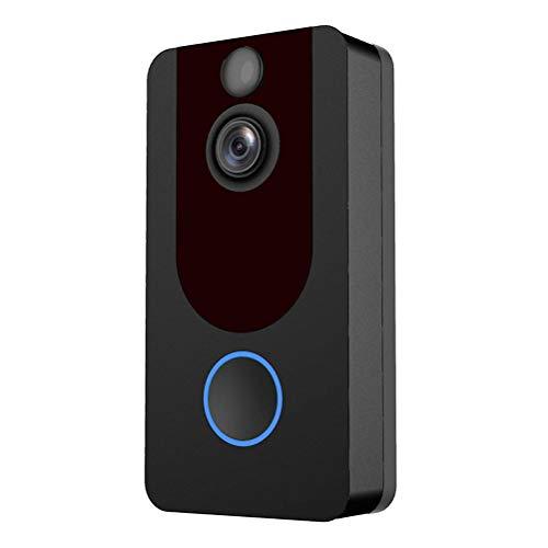 LIOOBO Timbre inalámbrico Doméstico Interfaz de Voz Inteligente Interfono para el hogar Alarma WiFi Móvil Tele-electrónico Cat Eye Sin baterías (Negro)