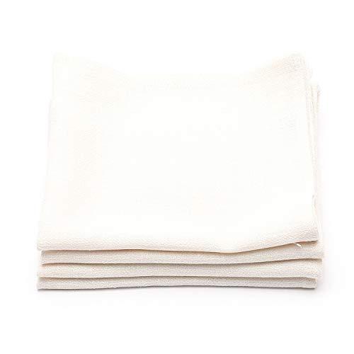 LinenMe Serviettes de Table n Lin, 42x42 cm, Collection Lara, Set de 4, Crème