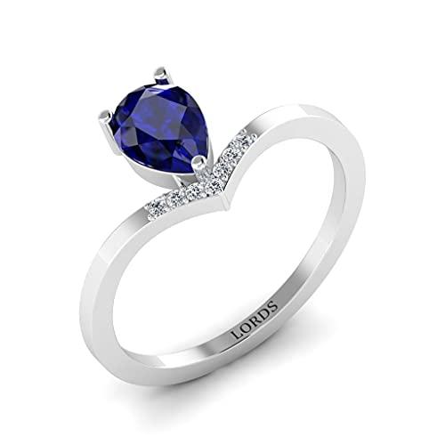 Anillo de compromiso de oro blanco de 9 quilates con diamantes de zafiro azul para mujer