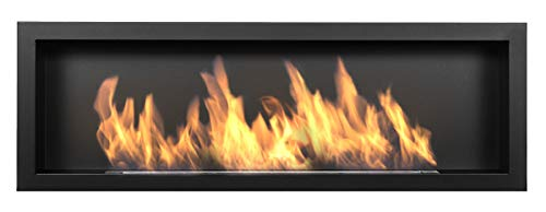 Biocamino S-Line 3D 120 x 40 cm ( 1200 x 400 mm), caminetto a bioetanolo, nero opaco. Un bio camino da montare in un'apertura a parete. Camino a bioetanolo senza vetro, con un bruciatore largo 80 cm.
