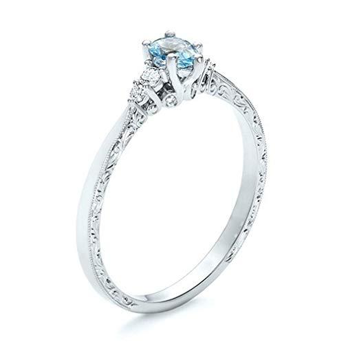 Yinew - Anillo de boda con piedras preciosas de color azul marino para mujer