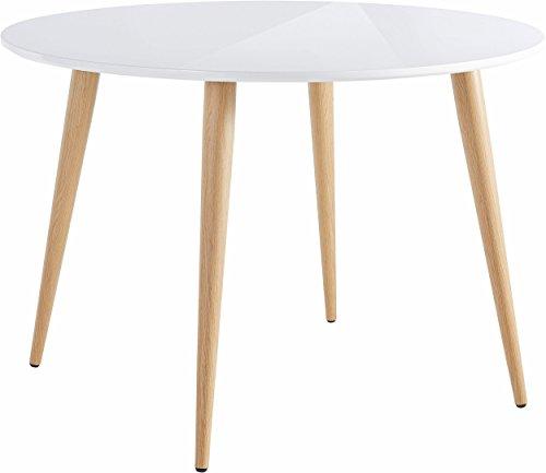 Loft24 ASTARIA Esstisch Esszimmertisch Tisch rund Ø110 cm Beistelltisch Skandinavisches Design MDF Retro Metallbeinen in Holzoptik