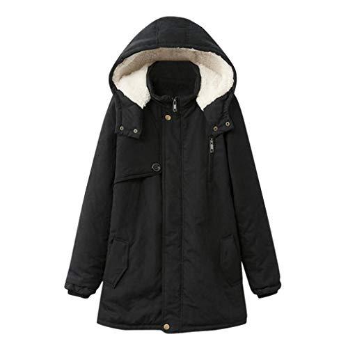 Alikeey Dames Werken Winter zakken knoop ritssluiting lange mouw plus maten hoodie mantel rond