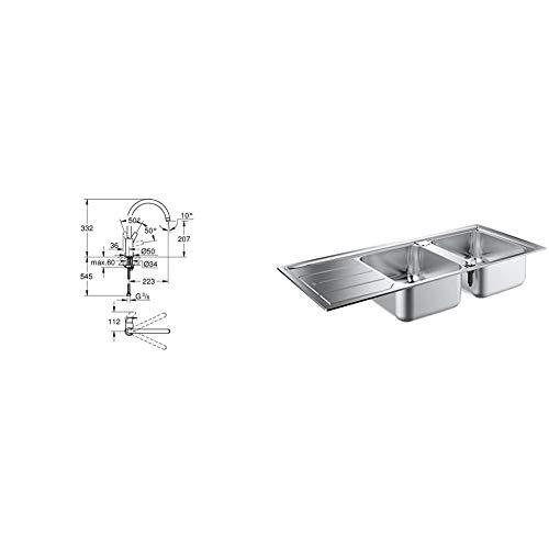 Grohe Bauflow - Grifo de cocina, monomando de fregadero con acabado cromado (31538001) + Grohe 31588SD0 31588SD0-K500 Fregadero de Acero Inoxidable con escurridor, K500, 80 cm