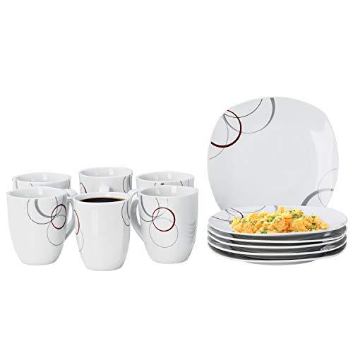 Van Well Frühstücksset Palazzo 12tlg. - 6 Teller á 19cm und 6 Becher á 33cl aus weißem Porzellan mit Dekor-Kreisen in grau und dunkelrot - für 6 Personen