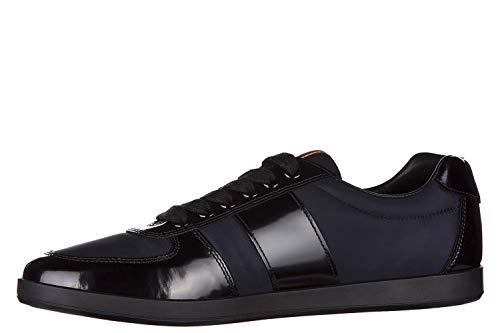Prada Men's Plume Spazzolato Leather Low-top Sneakers, Blue/Black 4E3086 (11 US / 10 UK)