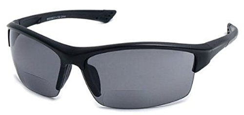 The Foster Bifocal Sun Reader Sport and Wrap Around Reading Sunglasses, Unisex Half Frame Readers for Men and Women in Black +3.00 (Microfiber Pouch Included)