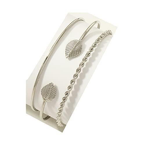 Hinleise Pulsera de mujer de múltiples capas de diamantes de imitación de 3 piezas Set de apertura de la pulsera de joyería regalo para las mujeres