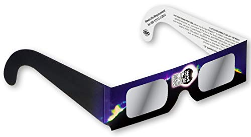 Rainbow Symphony Eclipse Glasses - ISO and CE Certified Safe Solar Eclipse Shades - Viewers and Filters - 5 Pack, Blue-black - Made in USA
