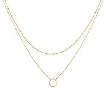 Mevecco Gold Layered Choker Necklace for Women,18K Gold Plated Cute Dainty Karma Round Circle Disc Charm Small Beaded Satellite Chain Minimalist Choker Necklace for Girls…