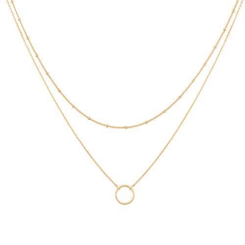 Mevecco Gold Layered Choker Necklace for Women,18K Gold Plated Cute Dainty Karma Round Circle Disc Charm Small Beaded Satellite Chain Minimalist Choker Necklace for Girls