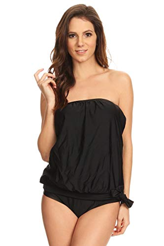 Dippin' Daisy's Womens Strapless Bandeau Blouson Tankini with Bottoms Solid Black