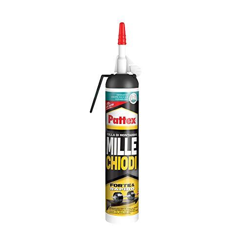 Pattex Millechiodi Forte & Rapido Kiwi, adesivo di montaggio multimateriale per sostituire chiodi al muro, adesivo extra forte in un nuovo formato più facile, 1x260g