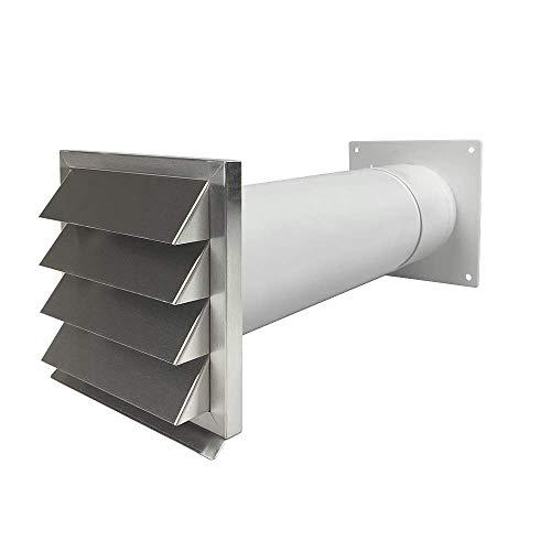 EASYTEC® Energiesparender Mauerkasten Ø 125 mm Edelstahl mit zwei Rückstauklappen 3350661116143