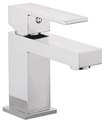 Calmwaters® - Modern Square 2 - Eckige Waschbeckenarmatur mit Ablaufgarnitur und Keramikkartusche für das Waschbecken - 14PZ2555