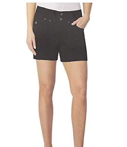 Dakota Blue Women's Soft Stretch Flat Front Shorts (Black, 12)