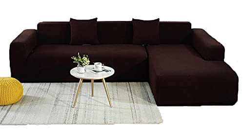 BEYRFCTA ,Stretch Sofa Cover, L-Shaped Sofa Cover,Non Slip Sofa Cover,Suitable for Children, Pets-Brown_Double 145-185