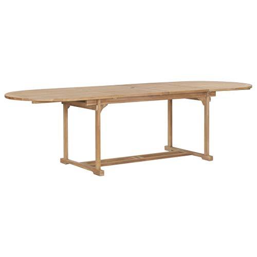 Festnight Tavolo da Giardino Allungabile, Tavolo da Esterno in Legno Teak Ovale (180-280) x100x75cm