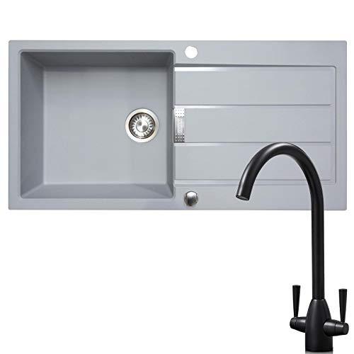 Franke 1.0 Bowl Grey Reversible Composite Kitchen Sink & KT5BL Twin Lever Tap
