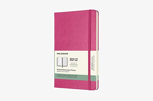 Moleskine - Agenda Settimanale 18 Mesi, Agenda Settimanale 2021/2022, Weekly Notebook con Copertina Rigida e Chiusura ad Elastico, Formato Large 13 x 21 cm, Colore Rosa Bouganvillea, 208 Pagine