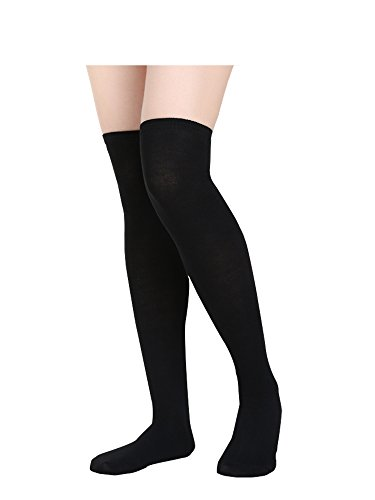SATINIOR Women Knee Socks High Socks High Thigh Stockings for Cosplay, Halloween, Party, Daily Wear, One Size (Black), approx. 50 cm/ 19.7 inches