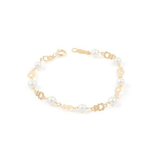 Pulsera bebe oro oso calado con perlas