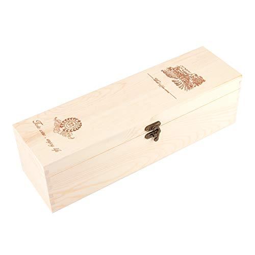 FOLOSAFENAR Caja de Almacenamiento de Vino Tinto, Material de Madera Duradero sin Olor Caja de Almacenamiento de Vino portátil y Conveniente para los Amantes del Vino para la Familia