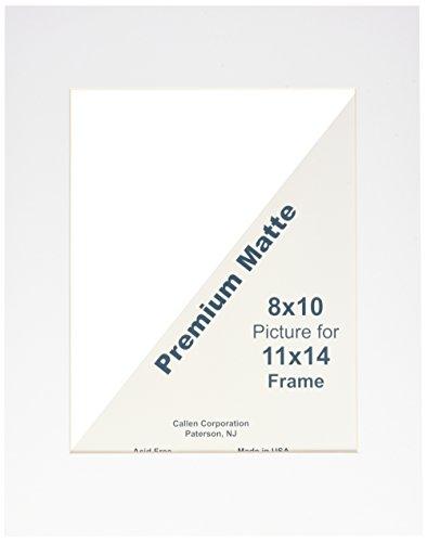 Callen HC1114-11000 Single Hand Cut Photo Mat with Bevel Edge, 11-Inch x 14-Inch, White/White Core