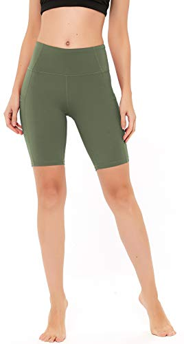 """N-A Women's Running Shorts High Waist Yoga Workout Compression Exercise Shorts Side Pockets 8"""" L Olive Green"""