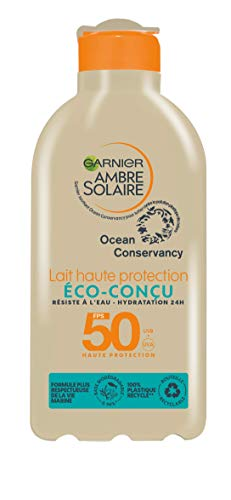 Garnier Ambre Solaire - Lait Haute Protection Solaire FPS 50 - Formule Éco-Conçue & Emballage Durable - 200 ml