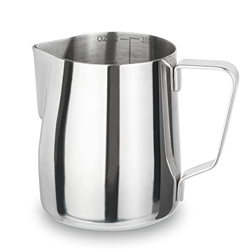 Milk Frothing Pitcher 12oz, Espresso Cappuccino Steaming Pitcher,Stainless Steel Coffee Pitcher Latte Art Barista Milk Pitcher, Measurement Scale Coffee Jug Cup 350ml
