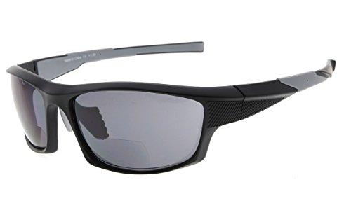 Eyekepper TR90 Sport Bifokale Sonnenbrille Baseball Laufen Angeln Fahren Golf Softball Wandern Leser (Schwarzer Rahmen Grauer Tempel, 2.50)