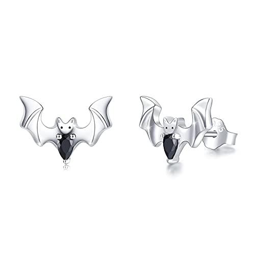 Pendientes de murciélago de plata de ley 925, con animales, murciélago, joya de regalo de cumpleaños para mujeres y niños