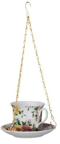 Esschert Design Futtertasse hängend für Vogelfutter und Meisenknödel, Sortiert, 1 Stück, ca. 14 cm x 14 cm x 8,2 cm