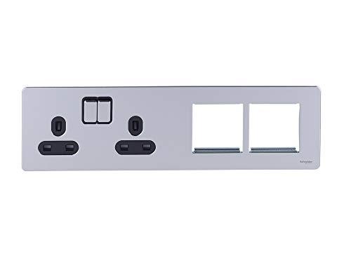 Schneider Electric GU34202DMPBPC platte contactdoos met schakelaar, 2 x 2P + E met rolluiken, zwart