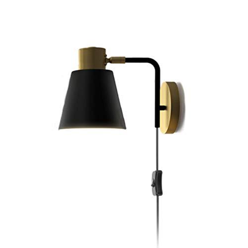 Lámpara de pared de metal negro E27 con interruptor con enchufe y cable, lámpara de noche giratoria ajustable lámpara de lectura de pared de dormitorio, para sala de estar, oficina Lámpara retro