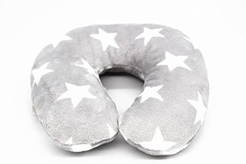 Kamaca Almohada cervical con funda de franela suave, 260 g/m², uso universal, apoyo y práctico para viajes (estrellas grises claras)