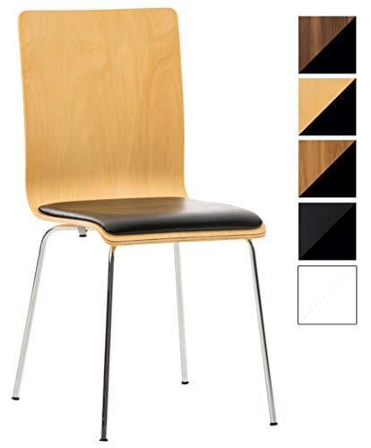 Wartezimmerstuhl Pepe mit Kunstledersitz und stabilem Metallgestell I Konferenzstuhl mit ergonomisch geformter Sitzfläche, Farbe:Natura/schwarz