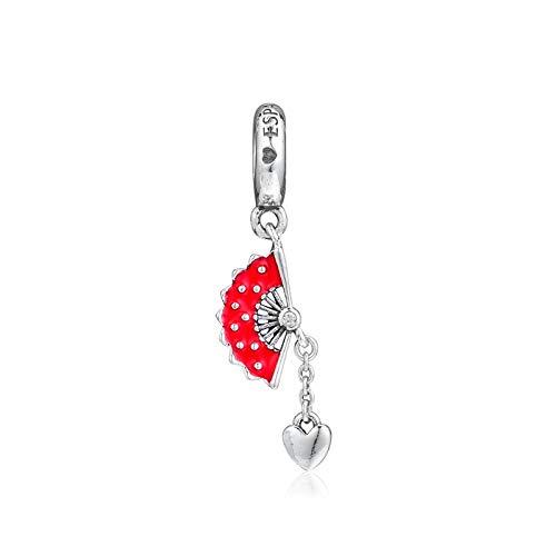 LILANG Pandora 925 Pulsera de joyería Natural se Adapta a Abanico español de Plata esterlina Genuina abanicos Colgantes para Berloques Mujeres Regalo DIY