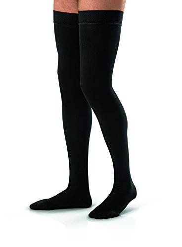 JOBST forMen Thigh High 30-40 mmHg Ribbed Dress Compression Stocking, Closed Toe, Large, Black