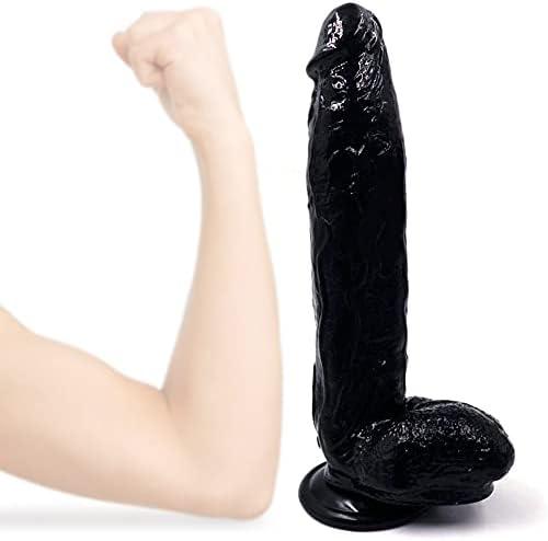 12 Inch Cheap mail order sales Black Large-scale sale Women Mǎssǎge Lifelike Suction T Cup Shi Dî'ldɔ