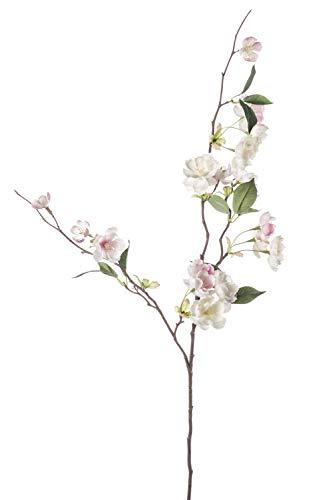 PARC Network Kunst Blütenzweig, Zierpfirsich, rosa-weiß, 80 cm - kunstblume zierpfirsich - Textil Blume - künstlicher blütenzweig - Deko Zweig