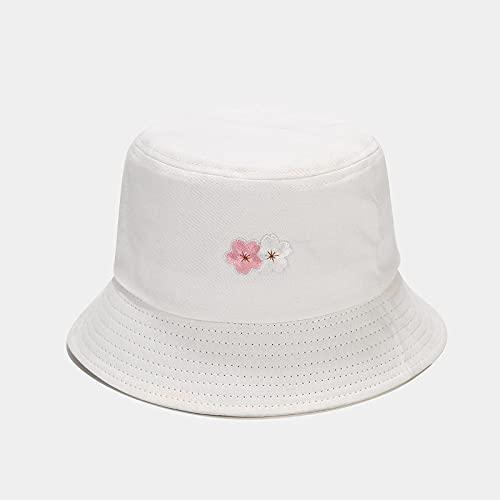 Sombreros De Cubo Para Mujer: Moda De Verano,Bordado De Flores,Sombrero De Pescador,Sombrero De Viaje Al Aire Libre,Sombrero Para El Sol,Sombrero De Playa,Sombrilla Para Niñas Adolescentes,Blanco,55