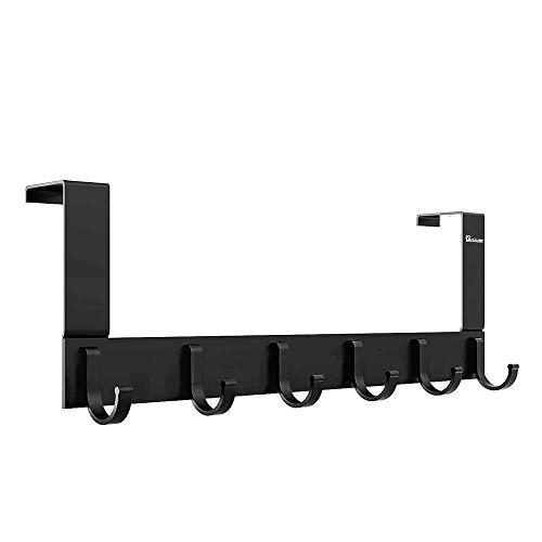 Anjuer Türhaken zum Aufhängen an der Tür, robust, Aufbewahrung für Mäntel, Handtücher, Taschen, Robe – 6 Haken, Aluminium, gebürstete Oberfläche (schwarz)