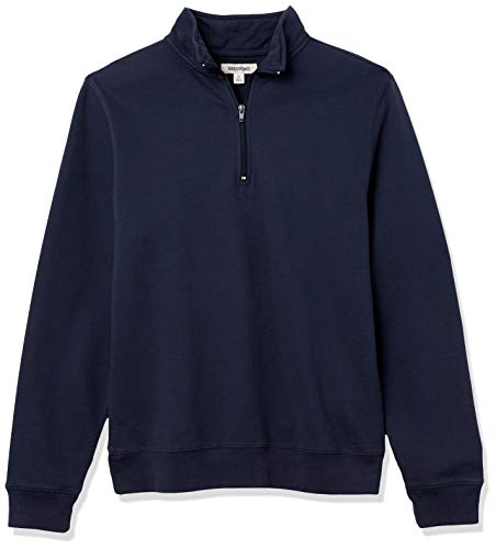 Amazon Brand  Goodthreads Men#039s Lightweight French Terry HalfZip Pullover Sweatshirt Navy Medium
