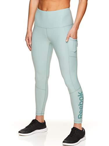 Reebok Women's 7/8 Workout Leggings w/High-Rise Waist - Performance Compression Athletic Tights - Grey Mist Superior High Rise, Medium