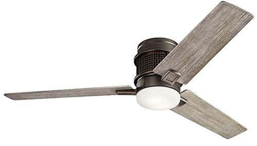 "Kichler 300352OZ Chiara 52"" Hugger Ceiling Fan with LED Lights and Wall Control, Olde Bronze"