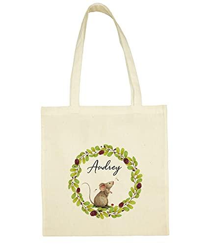 C60 Tote Bag Petite souris à personnaliser - sac bibliothèque - sac shopping - sac de courses - sac enfant - tote bag personnalisé