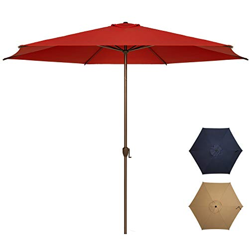 Ogrmar 11Ft Patio Umbrella Outdoor Table Umbrella with Push Button Tilt and Crank for Terrace, Backyard, Garden, Courtyard, Swimming Pool, Lawn (Dark Red)