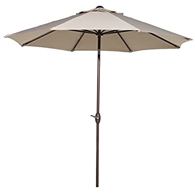 Abba Patio Outdoor Patio Umbrella with Push Button Tilt and Crank, 9-Feet, 8 Steel Ribs, Beige